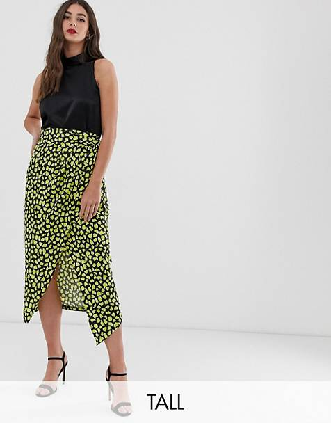 John Zack Tall frill midaxi skirt with thigh split in yellow splodge print