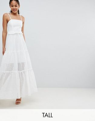John Zack Tall High Cutwork Lace Layered Maxi Dress