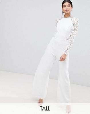 John Zack Tall Lace Sleeve Jumpsuit