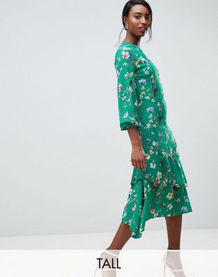 John Zack Tall midi tea dress in green floral print