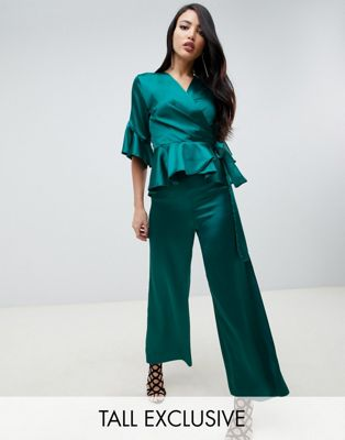 Image 1 of John Zack Tall satin culotte in green