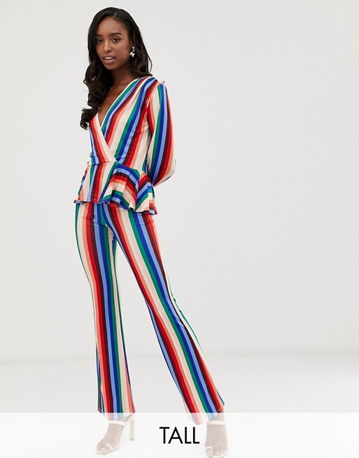 John Zack Tall wide leg pants in multi stripe