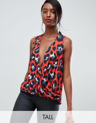 John Zack Tall wrap front sleeveless top in red leopard