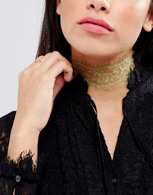 Image 1 of Johnny Loves Rosie Festival Gold Lace Choker Necklace