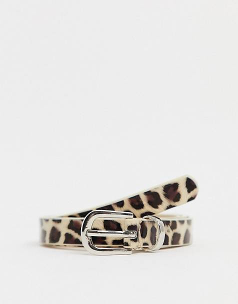 Johnny Loves Rosie Leopard print belt with buckle in gold