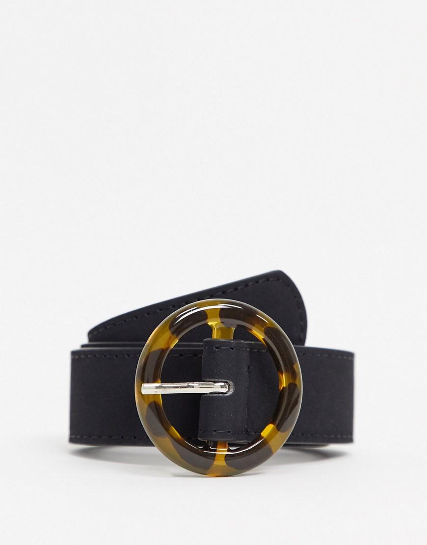 Tortoise Circle Buckle belt in black