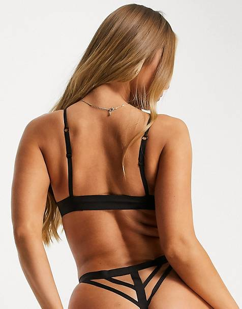Jojoe recycled strappy back bonded thong in black