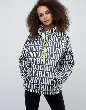 juicy by juicy couture multi logo padded jacket with half zip detail