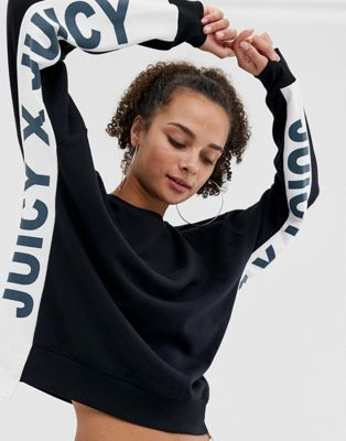 Image 1 of Juicy By Juicy Couture sweatshirt with side panel logo two-piece