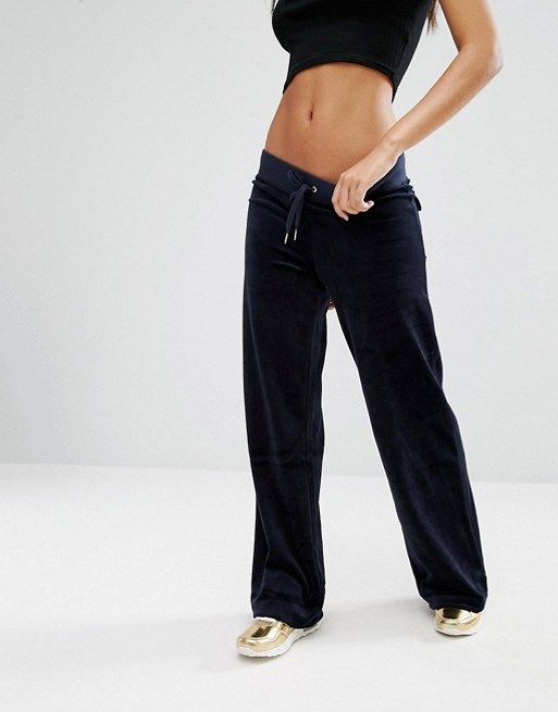Juicy Couture Malibu Wide Leg Velour Jogging Bottom Asos