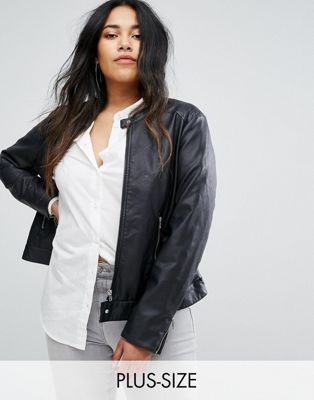 Junarose Collarless Leather Look Biker Jacket