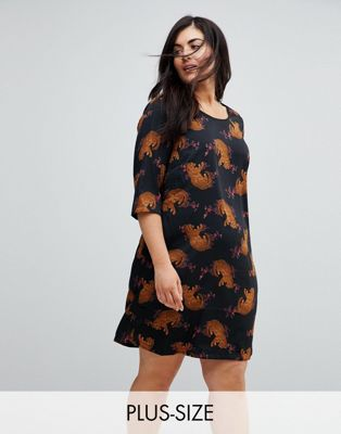 Junarose Leopard Placement Print Shift Dress With 3/4 Sleeve