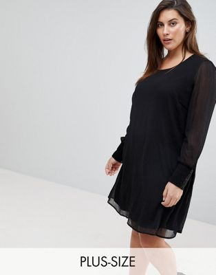 Junarose Skater Dress With Sheer Sleeve And Sequin Cuff