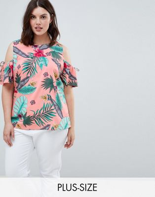 Junarose Tropical Print Cold Shoulder Top