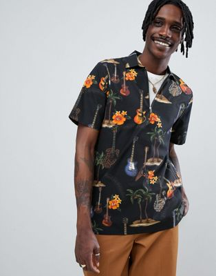 Just Junkies Dark Palm Print Shirt