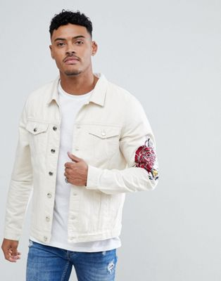 Just Junkies Denim Jacket With Rose Embroidery