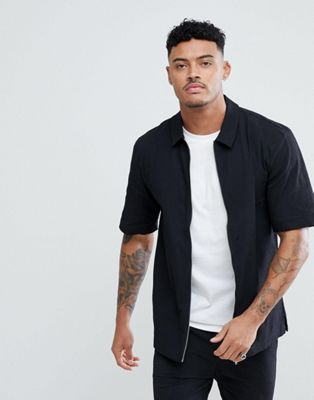 Just Junkies Short Sleeve Zip Shirt In Crepe