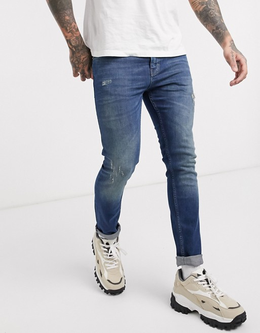 Image 1 of Just Junkies Skinny Fit Mid Distressed Wash Jeans