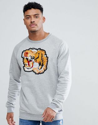 Just Junkies Sweatshirt With Tiger Embroidery