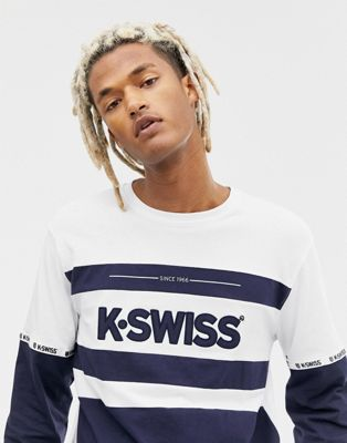 K-Swiss Fairfield Long Sleeve T-Shirt With Logo Panel In Navy