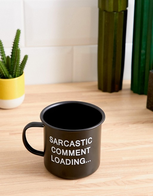 Image result for KADO sarcastic comment black soft touch enamel mug 450ml