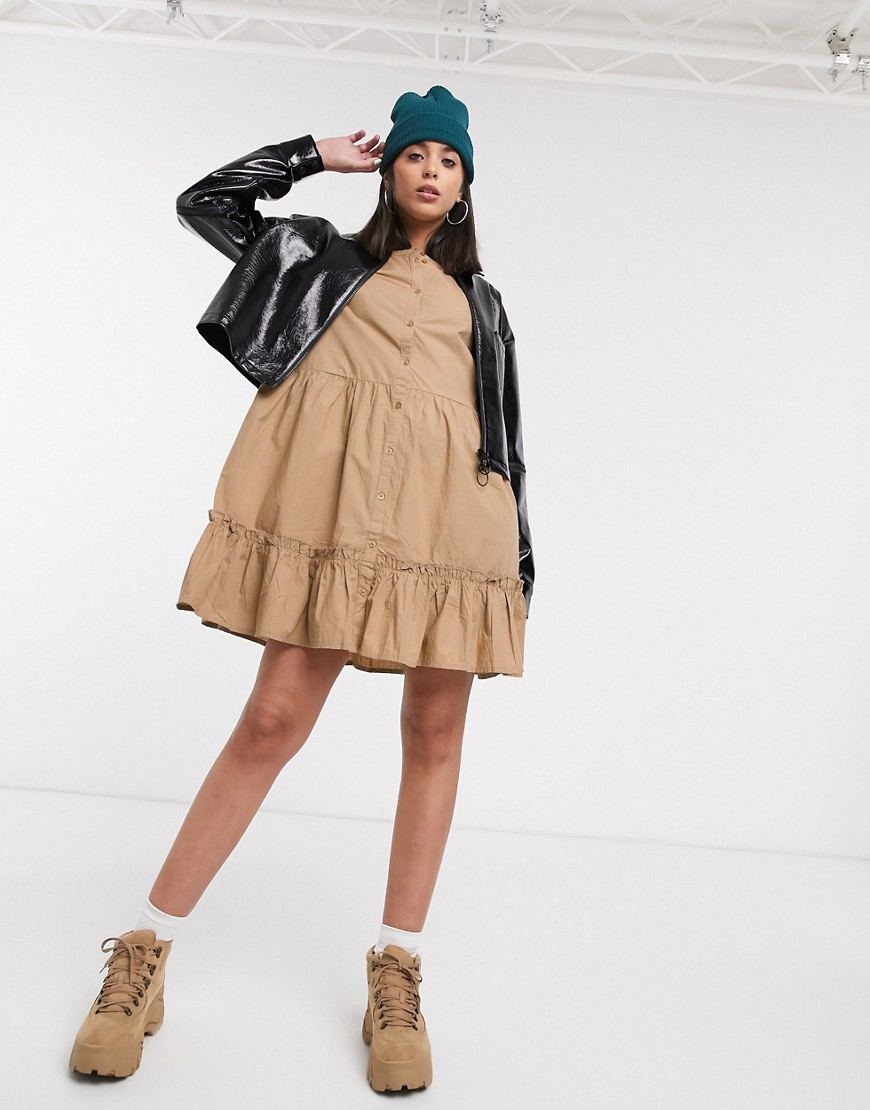 Photo of Kaffe oversized smock dress in camel-Tan- shop Kaffe dresses sales