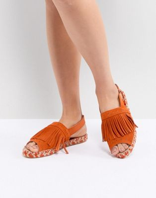 Kaltur Orange Fringed Espadrille Sandals