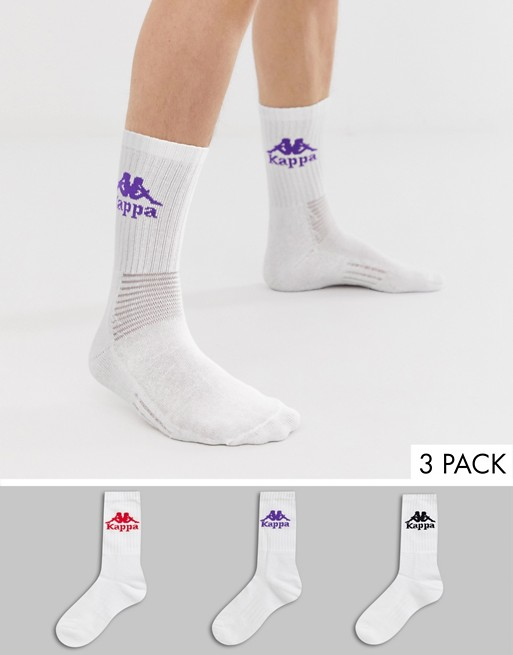 Image 1 of Kappa Authentic socks 3 pack in white and multi color