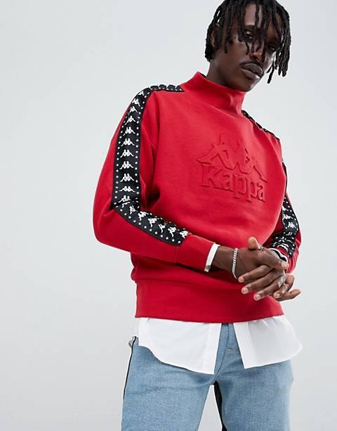 Kappa sweatshirt with turtleneck embossed logo detail and logo taping in red