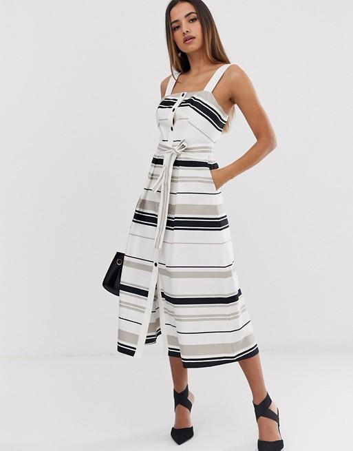 Karen Millen sukienka midi w kształcie litery A w kolorowe pasy 8754219