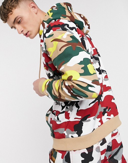 Karl Kani Signature Camo hoodie in red camo