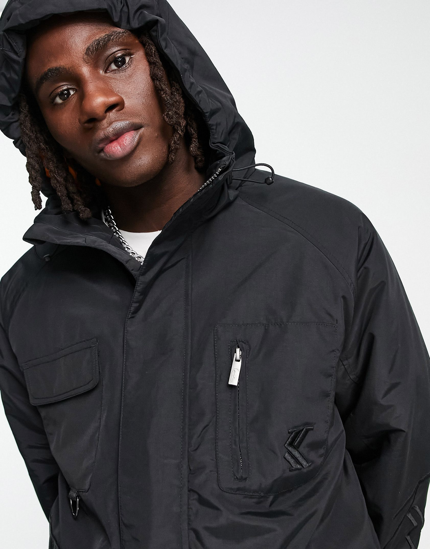 Karl Kani signature padded utility jacket in black -  Price Checker