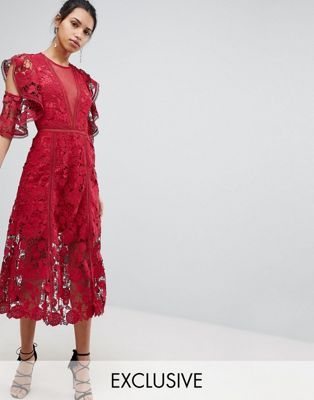 Keepsake Exclusive Floral Lace Midi Dress