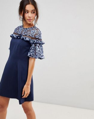 Keepsake Floral Lace Sleeve Dress