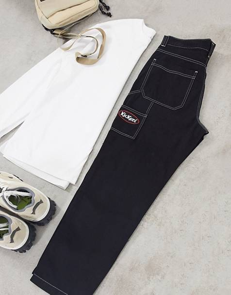 Kickers classic carpenter pants with contrast stitch in black