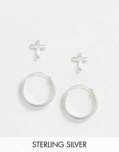 Kingsley Ryan exclusive earring multipack set in sterling silver two hoop and cross stud