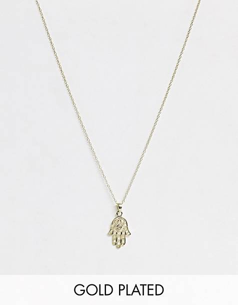 Kingsley Ryan exclusive necklace in sterling silver gold plated fatimas hand pendant