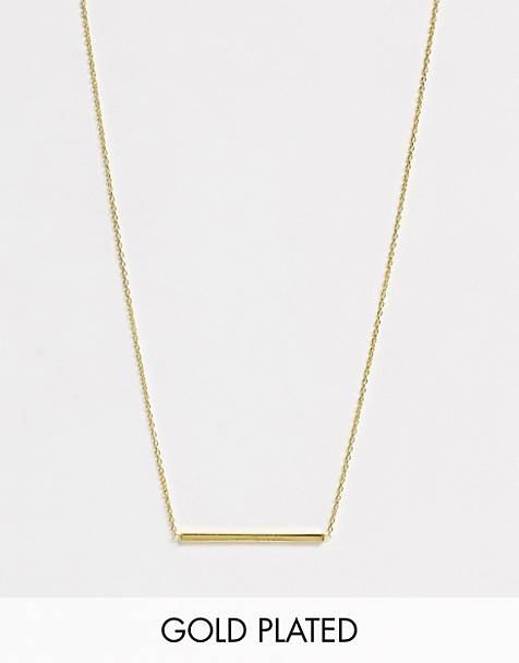 Kingsley Ryan exclusive necklace in sterling silver gold plated with bar