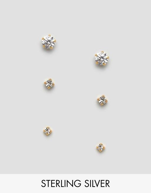 Image 1 of Kingsley Ryan Exclusive sterling silver gold plated gemstone stud earring pack