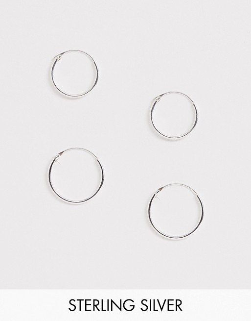 Kingsley Ryan Exclusive sterling silver mini hoop earrings set