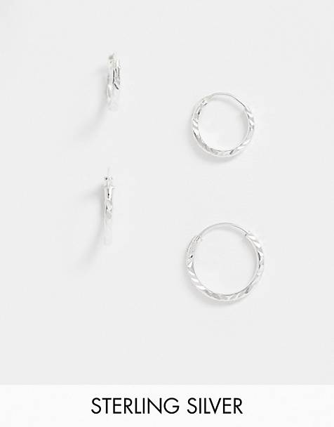 Kingsley Ryan exclusive sterling silver multipack twisted hoop earring set