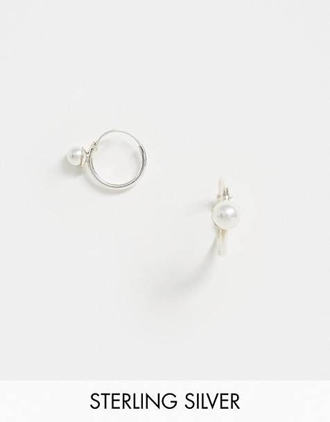 Kingsley Ryan exclusive sterling silver pearl hoop earrings