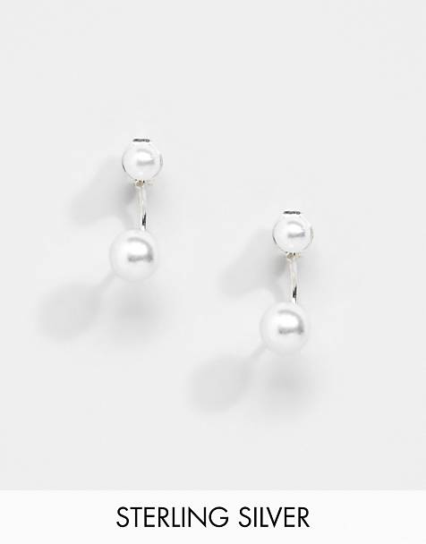 Kingsley Ryan Exclusive sterling silver pearl through & through earrings