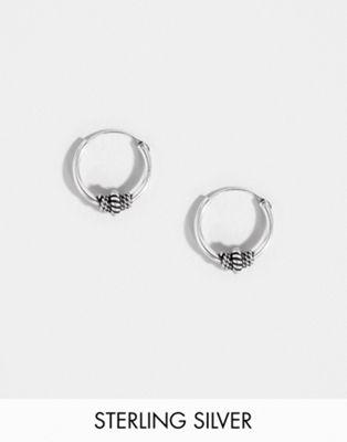 Kingsley Ryan sterling silver 10mm wire wrapped hoop earring