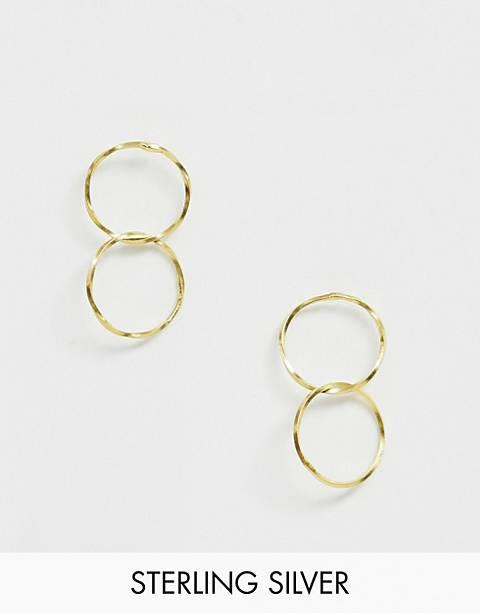 Kingsley Ryan sterling silver gold plated interlinked hoop earrings