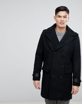 Image 1 of Kiomi Double Breasted Wool Mix Coat with Borg Collar In Black