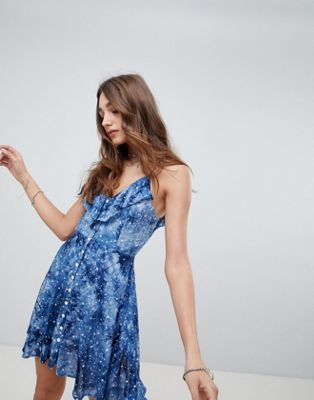 Kiss The Sky Button Up Cami Dress In Galaxy Print