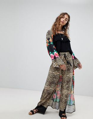 Kiss The Sky Wide Leg Pants In Leopard Print Co-Ord