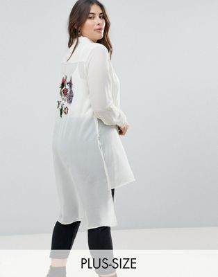 Koko Bird Embellished Longline Shirt