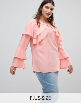 Koko Blouse With Long Sleeve Ruffle Detail